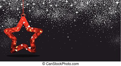 Christmas background with red star.