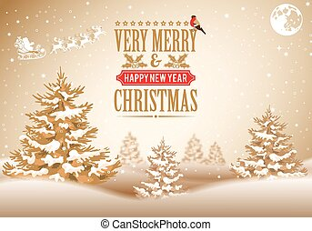 Christmas background with Retro Label, Tree, Santa,...