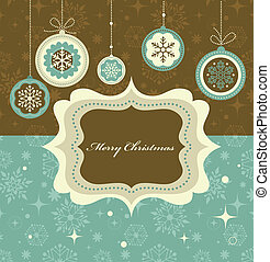 Christmas background with retro pattern and frame