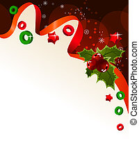 Christmas background with ribbon and holly berry