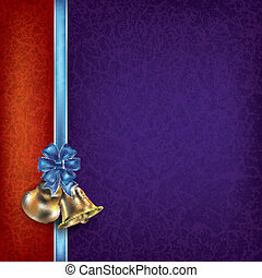 Christmas background with ribbons and bells