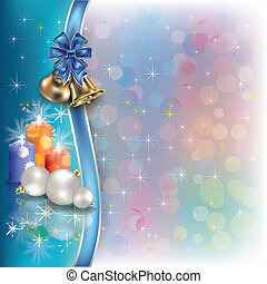 Christmas background with ribbons and candles