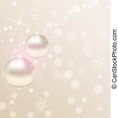 Christmas background with ribbons and christmas baubles