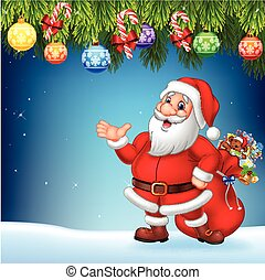 Christmas background with Santa Claus presenting