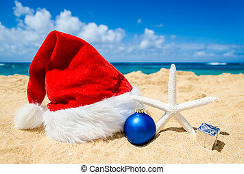 Christmas background with Santa Claus Hat and staerfish in...