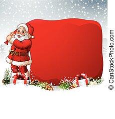 Christmas background with Santa pulling a huge bag