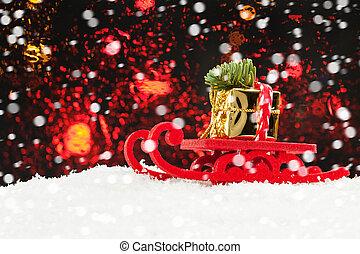 Christmas background with Santa sleigh and snow at Xmas night