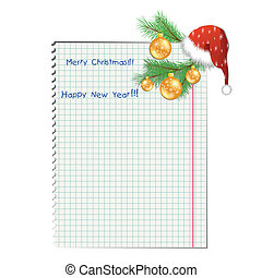 Christmas background with school notebook. Vector illustration