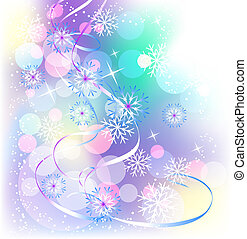 Christmas background with serpentine and snowflakes