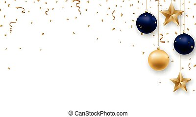 Christmas background with shiny golden and blue balls