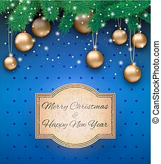 Christmas background with sign - Christmas card with gold...