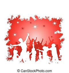 Christmas background with silhouettes
