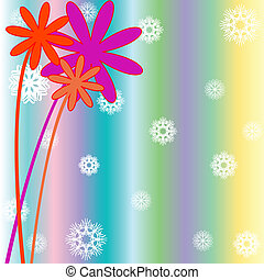 christmas background with snow flakes, flowers and stripes