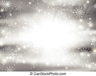 Christmas background with snowflakes and bokhe light