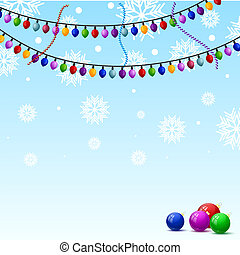 Christmas background with snowflakes and colorful lights