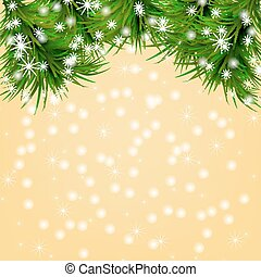 Christmas background with snowflakes, christmas tree