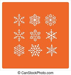 Christmas background with snowflakes icons