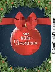 Christmas background with snowflakes. Red ball with a bow of tape. Christmas concept of fir tree and snow berries. Celebratory banner. White text. Vector