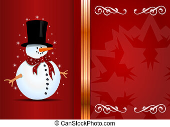 Christmas background with snowman and place for your text.