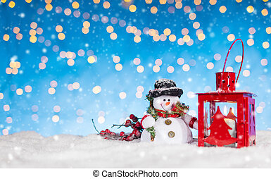 Christmas background with snowman and lantern