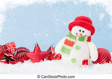 Christmas background with snowman and decor