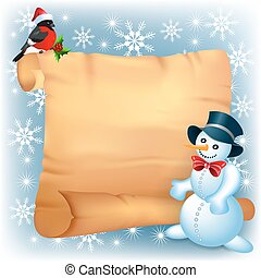 Christmas background with snowman, bullfinch and old paper