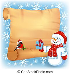 Christmas background with snowman, bullfinch in Santa Claus hat and old paper signboard