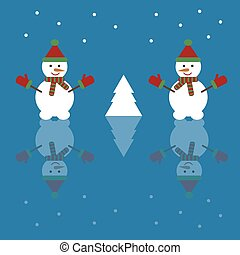 Christmas background with snowman. Vector illustration