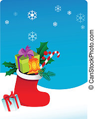 Christmas background with sock and gifts