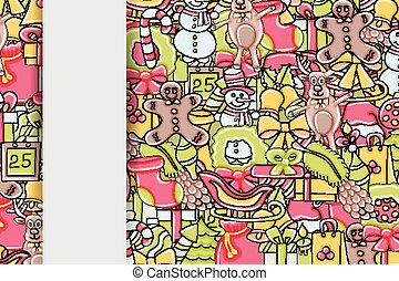 Christmas background with space for text. For a greeting card, flyer, or brochure. Hand drawn cartoon style doodle