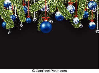 Christmas background with spruce branches.