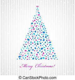 Christmas background with star fir-tree