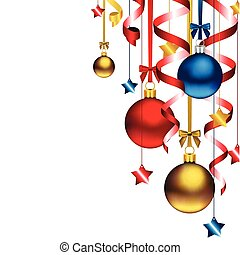 Christmas Background with streamers, stars, red, blue and golden ornaments, with space for text.