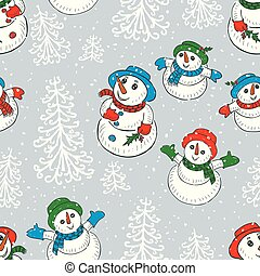 Christmas background with the snowmen looking on a snowfall
