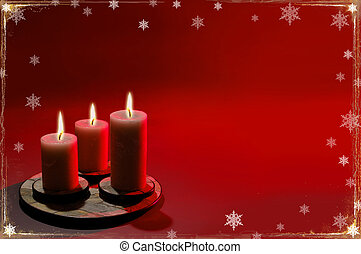Christmas background with candles and snowflakes over red background.