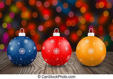 Christmas background with three christmas balls.