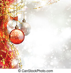 Christmas background with three Christmas baubles