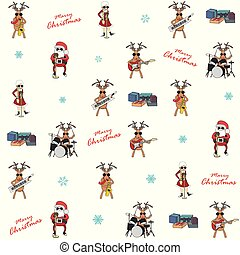 Christmas background with traditional characters