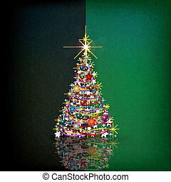 Christmas background with tree and decoration