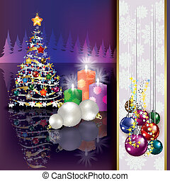 Christmas background with tree and candles