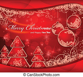 Christmas background with trees and balls in red & text