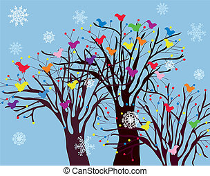 Christmas background with trees, birds and snow card