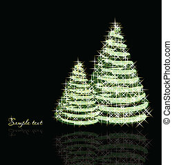 Christmas background with trees. Vector