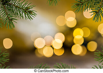Christmas Background with Twig of Christams Tree.