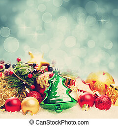 Christmas. Background with Twinkled Sparkle. Decoration Border on White Snow