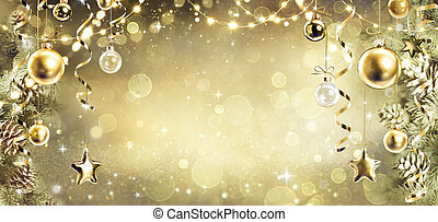 Christmas Background With Vintage Golden Ornament Hanging On Fir Branches