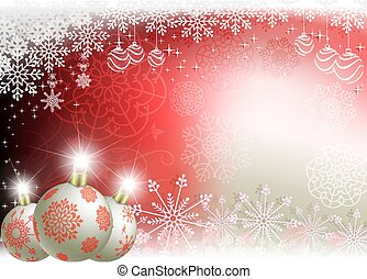 Christmas background with white balls with red snowflakes.