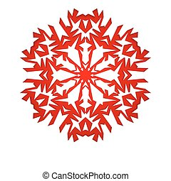 Christmas background with white paper snowflake