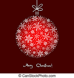 Christmas Background with White Snowflakes Ball