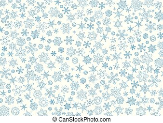 Christmas background with white snowflakes in blue outline.